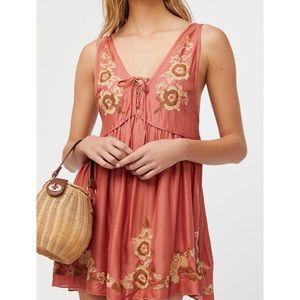 Free People Aida Embroidered Slip Dress